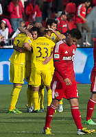 18 May 2013: The Columbus Crew celebrate the win at the end of an MLS game between the Columbus Crew and Toronto FC at BMO Field in Toronto, Ontario Canada..The Columbus Crew won 1-0...