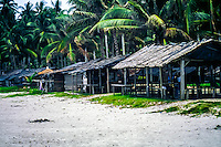 Riau Islands, Bintan. Trikora Beach. These half open huts work both as shelter and foodstalls.