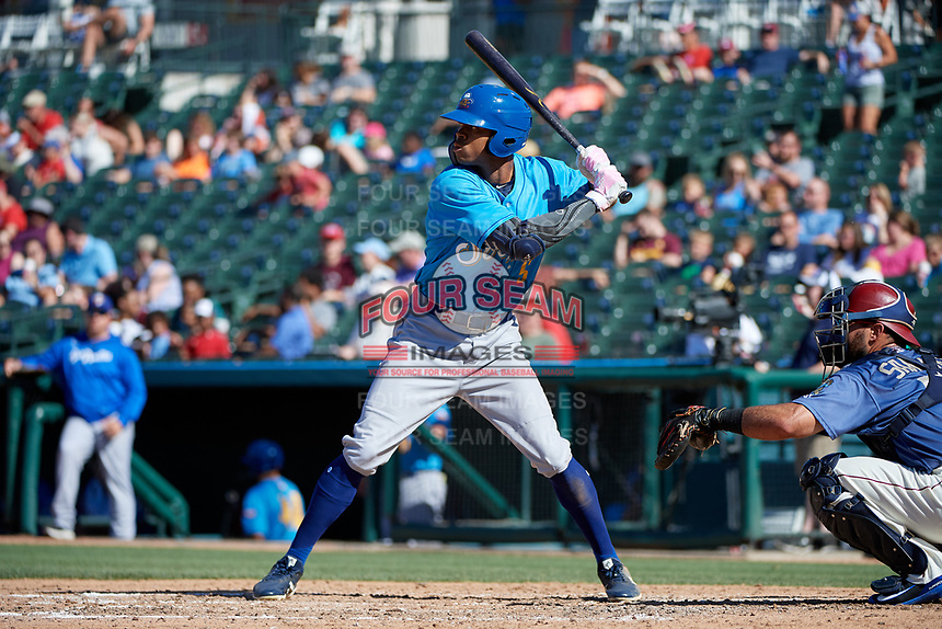 Amarillo Sod Poodles Buddy Reed (5) at bat during a Texas League game against the Frisco RoughRiders on May 19, 2019 at Dr. Pepper Ballpark in Frisco, Texas.  Amarillo defeated Frisco 10-5.  (Mike Augustin/Four Seam Images)