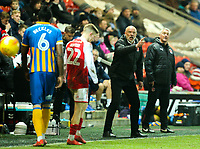 Fleetwood Town manager Uwe R&ouml;sler shouts instructions to his team from the technical area<br /> <br /> Photographer Alex Dodd/CameraSport<br /> <br /> The EFL Sky Bet League One - Fleetwood Town v Shrewsbury Town - Tuesday 13th February 2018 - Highbury Stadium - Fleetwood<br /> <br /> World Copyright &copy; 2018 CameraSport. All rights reserved. 43 Linden Ave. Countesthorpe. Leicester. England. LE8 5PG - Tel: +44 (0) 116 277 4147 - admin@camerasport.com - www.camerasport.com