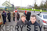 PJ and Richard Rohan wait for Health Minister Dr James Reilly at Tralee Community hospital on Friday.