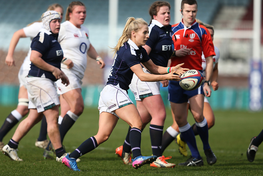 Scotland Women's Jenny Maxwell<br /> <br /> Photographer Stephen White/CameraSport<br /> <br /> Women's Six Nations Round 4 - England Women v Scotland Women - Saturday 11th March 2017 - The Stoop - London<br /> <br /> World Copyright &copy; 2017 CameraSport. All rights reserved. 43 Linden Ave. Countesthorpe. Leicester. England. LE8 5PG - Tel: +44 (0) 116 277 4147 - admin@camerasport.com - www.camerasport.com