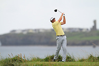 Robert Cannon (Balbriggan) on the 12th tee during the Quarter Finals of The South of Ireland in Lahinch Golf Club on Tuesday 29th July 2014.<br /> Picture:  Thos Caffrey / www.golffile.ie