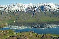 Vatnsdalshólar i forgrunni. Hinu megin við Flóðið: Bjarnarstaðir t.v. og Másstaðir, seð til austurs, fjallið Naustaþúfa, Vatnsdalur,  Húnavatnshreppur áður Sveinsstaðahreppur /  Vatnsdalsholar in foreground viewing east. On the other side of lake Flodid, to the left: Bjarnarstaðir and to the right:  Masstadir, Vatnsdalur - lake Flodid ,  Hunavatnshreppur former Sveinsstadahreppur