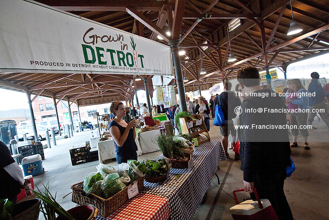 Grown in Detroit produces are seen in Detroit Eastern Farmers market in Detroit (Mi) Saturday June 8, 2013. The largest open-air flowerbed market in the United States, the Eastern Market is a historic commercial district in Detroit, Michigan.