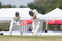 Joe Weatherley drives straight to bring up his half century during Middlesex CCC vs Hampshire CCC, Bob Willis Trophy Cricket at Radlett Cricket Club on 11th August 2020