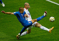 Jul 9, 2006; Berlin, GERMANY; Italy defender (5) Fabio Cannavaro and France midfielder (10) Zinedine Zidane battle for the ball during first half play in the final of the 2006 FIFA World Cup at the Olympiastadion, Berlin. Mandatory Credit: Ron Scheffler-US PRESSWIRE Copyright © Ron Scheffler.