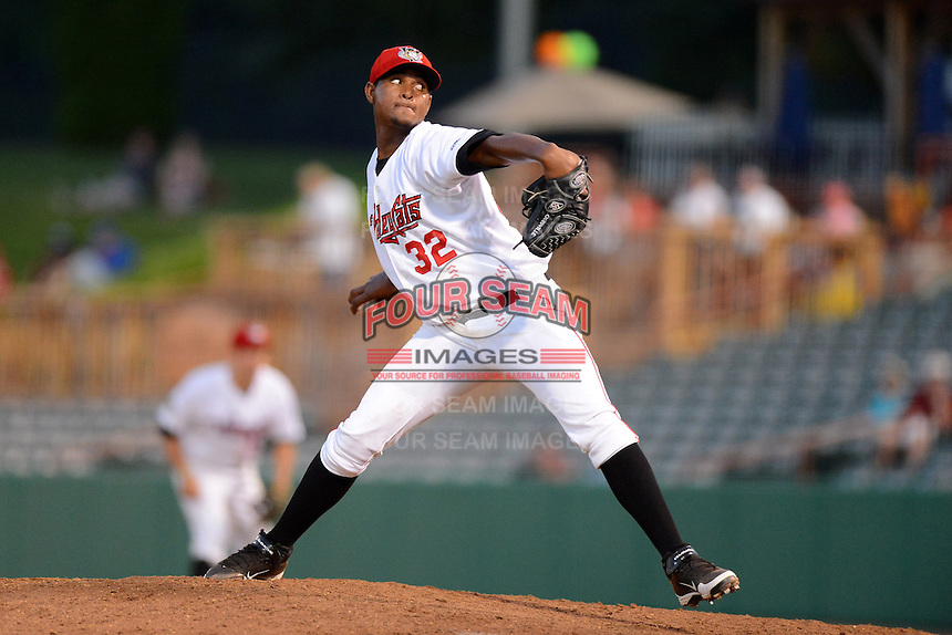 Tri-City ValleyCats pitcher Michael Feliz (32) during a game against the Lowell Spinners on July 6, 2013 at Joseph L. Bruno Stadium in Troy, New York.  Lowell defeated Tri-City 4-3.  (Mike Janes/Four Seam Images)