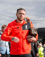 Alberto Moreno of Liverpool arrives during the 2016/17 Pre Season Friendly match between Tranmere Rovers and Liverpool at Prenton Park, Birkenhead, England on 8 July 2016. Photo by PRiME Media Images.
