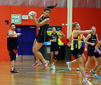 30.10.2014 Silver Ferns Ameliaranna Wells in action during training ahead of the second test match in Palmerston North. Mandatory Photo Credit ©Michael Bradley.