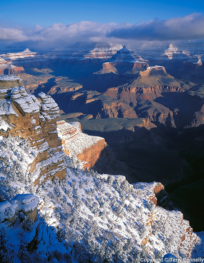 Grand Canyon National Park, AZ   <br /> Clearing winter storm and fresh snow on South Rim from Mather Point