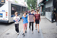 Annuska, Felix, Lucas and Alan on Bedford Ave. Williamsburg Brooklyn. New York summer holiday with family, 2014