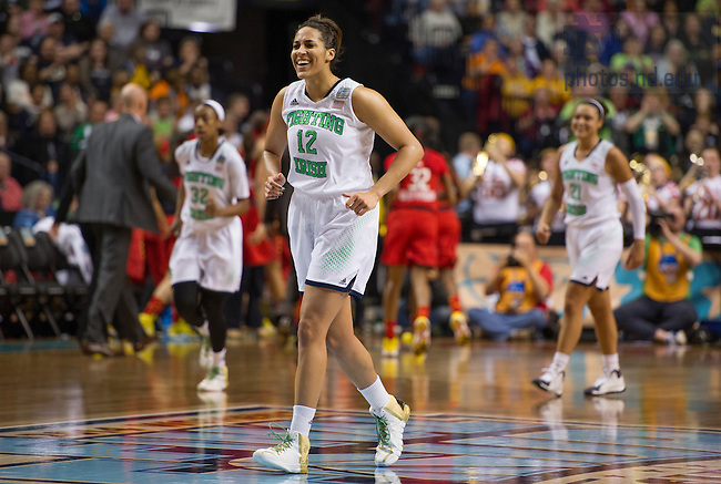 Apr. 6, 2014; Notre Dame Fighting Irish forward Taya Reimer celebrates during the game against the Maryland Terrapins in the semifinals of the NCAA Final Four tournament at the Bridgestone Arena in Nashville, Tenn. Notre Dame defeated Maryland 87 to 61. Photo by Barbara Johnston/University of Notre Dame