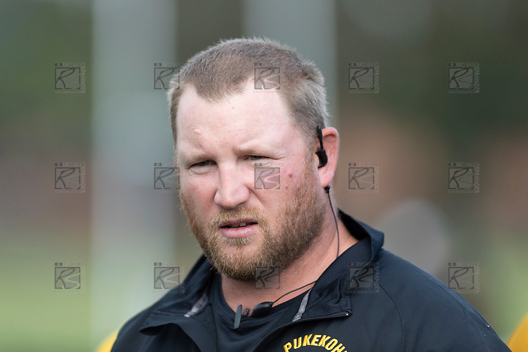 Pukekohe Coach Mark Price. Counties Manukau Premier Club rugby game between Pukekohe and Waiuku, played at Colin Lawrie Fields, Pukekohe on Saturday April 14th, 2018. Pukekohe won the game 35 - 19 after leading 9 - 7 at halftime.<br /> Pukekohe Mitre 10 Mega -Joshua Baverstock, Sione Fifita 3 tries, Cody White 3 conversions, Cody White 3 penalties.<br /> Waiuku Brian James Contracting - Lemeki Tulele, Nathan Millar, Tevta Halafihi tries,  Christian Walker 2 conversions.<br /> Photo by Richard Spranger
