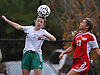 Carle Place No. 5 Emma Beattie, left, heads a ball away from Center Moriches No. 13 Christina Schumchyk during the varsity girls' soccer Class B Long Island Championship at Adelphi University on Saturday, November 7, 2015. Center Moriches won 3-2 in overtime.