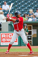 Aaron Altherr (22) of the Lakewood BlueClaws at bat against the Greensboro Grasshoppers at NewBridge Bank Park on August 18, 2012 in Greensboro, North Carolina.  The Grasshoppers defeated the BlueClaws 9-4.  (Brian Westerholt/Four Seam Images)