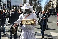 Manifestazione per il clima manifestante vestito da apicultore