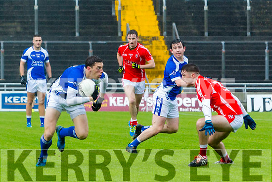 Rahillys David Moran, gets past  E'Kerry's D J Murphy at the Garvey's Supervalu Senior County Football Championship Quarter Finals East Kerry V Kerins O'Rahillys at Austin Stacks Park on Saturday