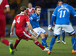 St Johnstone v Aberdeen.....07.12.13    SPFL<br /> Stevie May and Russell Anderson<br /> Picture by Graeme Hart.<br /> Copyright Perthshire Picture Agency<br /> Tel: 01738 623350  Mobile: 07990 594431