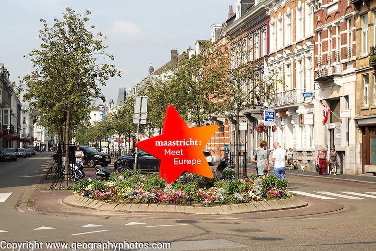 Meet Europe sign historic housing, Wyck area, Maastricht, Limburg province, Netherlands