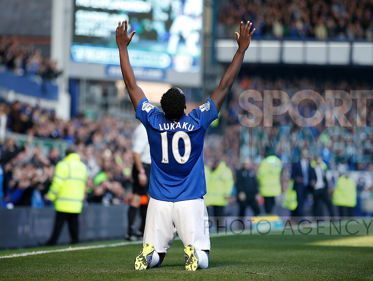Romelu Lukaku of Everton celebrates scoring the equalising goal - English Premier League - Everton vs Liverpool - Goodison Park Stadium - Liverpool - England - 04th October 2015 - Picture Simon Bellis/Sportimage