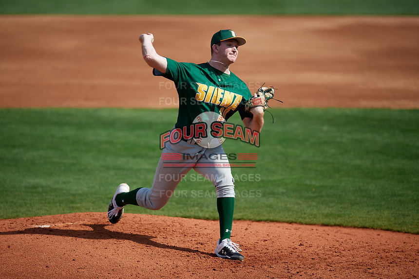 Siena Saints starting pitcher Dylan D'Anna (30) delivers a pitch during a game against the UCF Knights on February 17, 2019 at John Euliano Park in Orlando, Florida.  UCF defeated Siena 7-1.  (Mike Janes/Four Seam Images)