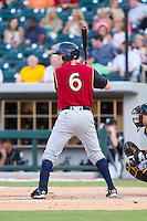 Carmen Angelini (6) of the Scranton/Wilkes-Barre RailRiders at bat against the Charlotte Knights at BB&T Ballpark on July 17, 2014 in Charlotte, North Carolina.  The Knights defeated the RailRiders 9-5.  (Brian Westerholt/Four Seam Images)