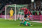 02.11.2019, wohninvest WESERSTADION, Bremen, GER, 1.FBL, Werder Bremen vs SC Freiburg<br /> <br /> DFL REGULATIONS PROHIBIT ANY USE OF PHOTOGRAPHS AS IMAGE SEQUENCES AND/OR QUASI-VIDEO.<br /> <br /> im Bild / picture shows<br /> Mark Flekken (SC Freiburg #26), <br /> Ömer Toprak / Oemer Toprak (Werder Bremen #21) im Duell / im Zweikampf mit Christian Günter / Guenter (SC Freiburg #30), <br /> <br /> Foto © nordphoto / Ewert