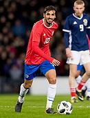 23rd March 2018, Hampden Park, Glasgow, Scotland; International Football Friendly, Scotland versus Costa Rica; Bryan Ruiz of Costa Rica in action