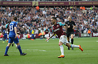 West Ham United's Manuel Lanzini celebrates scoring his side's first goal <br /> <br /> Photographer Rob Newell/CameraSport<br /> <br /> The Premier League - West Ham United v Everton - Sunday 13th May 2018 - London Stadium - London<br /> <br /> World Copyright &copy; 2018 CameraSport. All rights reserved. 43 Linden Ave. Countesthorpe. Leicester. England. LE8 5PG - Tel: +44 (0) 116 277 4147 - admin@camerasport.com - www.camerasport.com