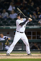 Zack Collins (8) of the Charlotte Knights at bat against the Toledo Mud Hens at BB&T BallPark on April 24, 2019 in Charlotte, North Carolina. The Knights defeated the Mud Hens 9-6. (Brian Westerholt/Four Seam Images)