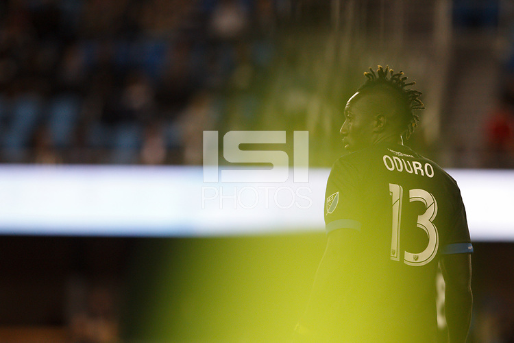 San Jose, CA - Saturday October 06, 2018: Dominic Oduro during a Major League Soccer (MLS) match between the San Jose Earthquakes and the New York Red Bulls at Avaya Stadium.