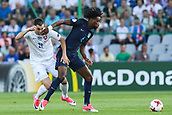 June 19th 2017, Kielce, Poland; UEFA European U-21 football championships, England versus Slovakia; Matus Bero (SLO) is shielded off the ball by Nathaniel Chalobah (ENG)