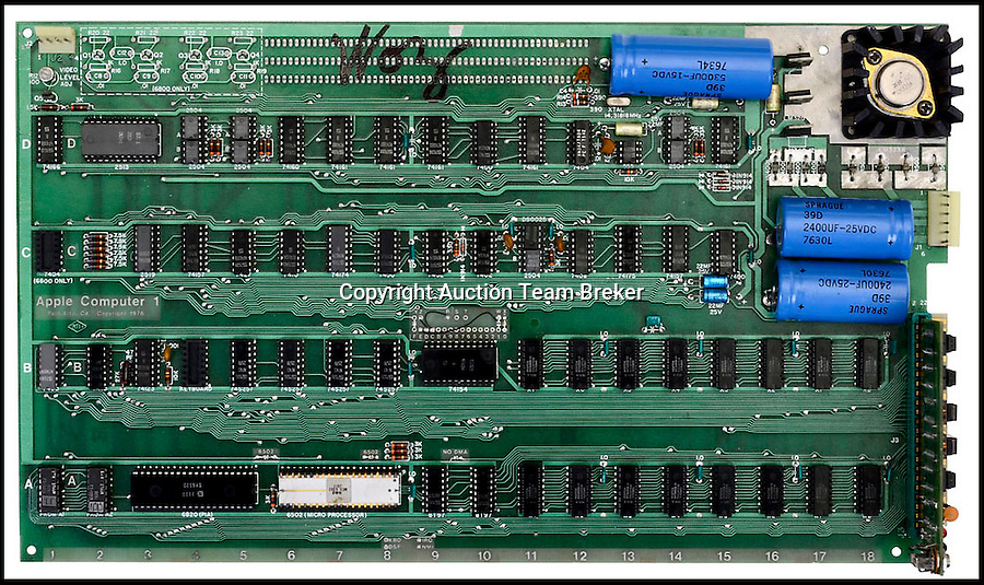 BNPS.co.uk (01202 558833).Pic: TeamBreker/BNPS..***Please Use Full Byline***..Motherboard...The first ever Apple computer which founder Steve Jobs sold from his parents' garage has emerged - and is tipped to fetch a whopping £250,000  at auction...Capable of only the most basic computing, the Apple 1 computer is laughable in comparison to today's high-tech machines...But as the computer that gave birth to the Apple empire, including the MacBook, iPod, iPhone and iPad, it is among the most prized Apple products in the world...The Apple 1, the first ready-made PC to ever come on the market, was created by Jobs and fellow founder Steve Wozniak in 1976...The pair built 200 units in Jobs' parents garage in California, selling 50 to a local shop called Byte....