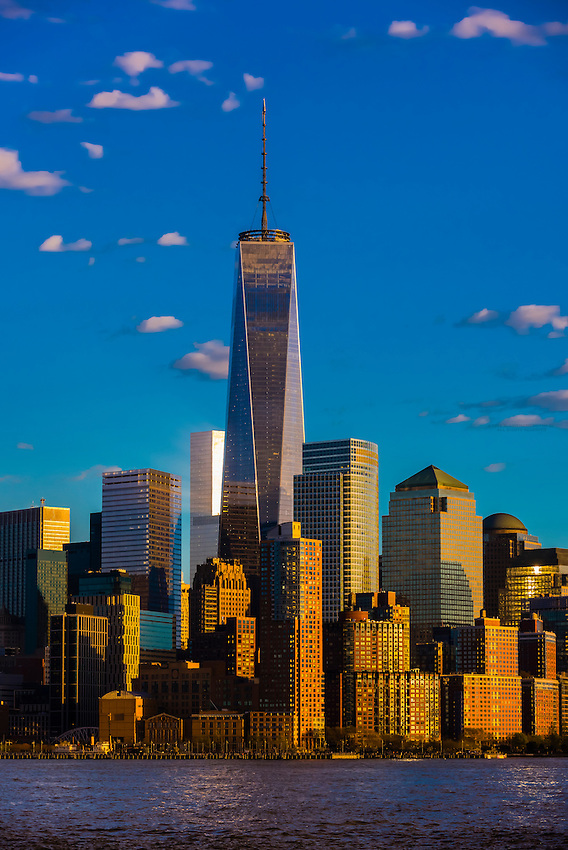 One World Trade Center (tallest skyscraper in the Western Hemisphere and fourth tallest in the world) towers over other buildings in Battery Park City, New York, New York USA.