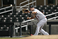 Peoria Javelinas first baseman Matt Adams #27 during an Arizona Fall League game against the Salt River Rafters at HoHoKam Park on November 3, 2011 in Mesa, Arizona.  Salt River defeated Peoria 13-4.  (Mike Janes/Four Seam Images)