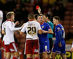 Che Adams of Sheffield Utd receives a red card - FA Cup Second round - Sheffield Utd vs Oldham Athletic - Bramall Lane Stadium - Sheffield - England - 5th December 2015 - Picture Simon Bellis/Sportimage