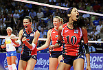 June 14, 2008 - Colorado Springs, CO...Team USA's players celebrate during Women's Olympic Exhibition Volleyball action between Brazil and the USA.  Brazil is currently the world's top ranked team going into the Olympics later this summer.  Team USA is currently ranked 4th...Brazil defeated Team USA 3-0 in the third of a three-match exhibition series at the U.S. Air Force Academy in Colorado Springs, Colorado...Larry Clouse/CSM....