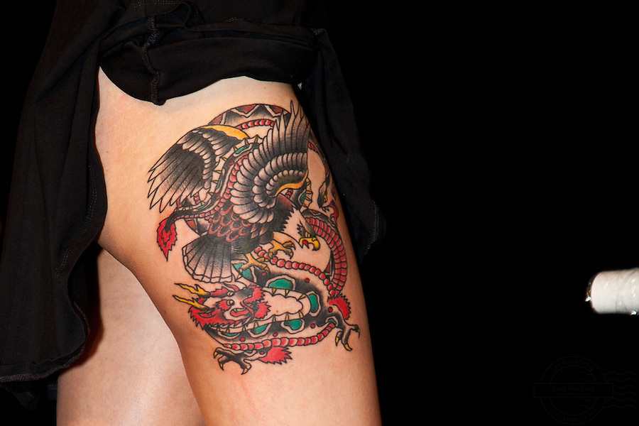 Copenhagen Inkfestival 2012. Old style eagle and dragon tattoo.