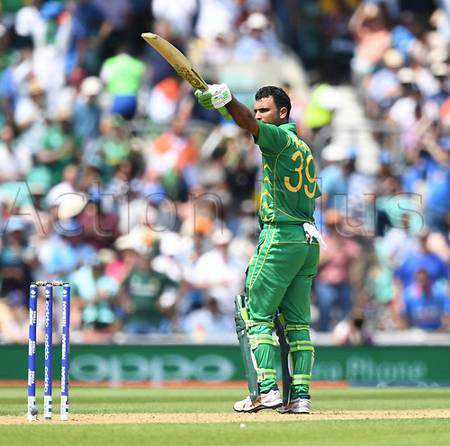 June 18th 2017, The Kia Oval, London, England;  ICC Champions Trophy Cricket Final; India versus Pakistan; Fakhar Zaman of Pakistan takes the crowds applause as he celebrates his 100 runs