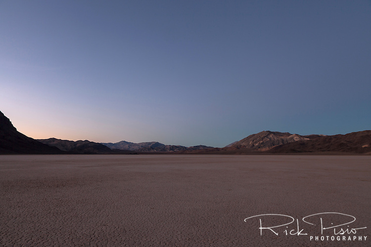 Dusk on the Racetrack Playa in Death Valley National Park. The Racetrack Playa is known for its 'sailing stones' which are rocks that mysteriously move across its surface.