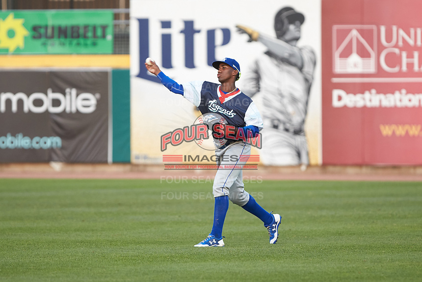 Lexington Legends right fielder Seuly Matias (25) throws the ball back to the infield during the game against the West Virginia Power at Appalachian Power Park on June 7, 2018 in Charleston, West Virginia. The Power defeated the Legends 5-1. (Brian Westerholt/Four Seam Images)