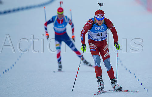 05.03.2016. Oslo Holmenkollen, Oslo, Norway. IBU Biathlon World Championships.  Aleksandrs Patrijuks of Latvia competes in the men 10km sprint competition during the IBU World Championships Biathlon in Holmenkollen Oslo, Norway.