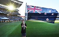 Heart Kids flag bearer.<br /> New Zealand Black Caps v Australia.Tri-Series International Twenty20 cricket. Eden Park, Auckland, New Zealand. Friday 16 February 2018. &copy; Copyright Photo: Andrew Cornaga / www.Photosport.nz