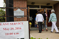 "People arrive for the last service at St. Frances Xavier Cabrini Church in Scituate, Mass., on Sun., May 29, 2016. Members of the congregation have been holding a vigil for more than 11 years after the Archdiocese of Boston ordered the parish closed in 2004. For 4234 days, at least one member of Friends of St. Frances X. Cabrini has been at the church at all times, preventing the closure of the church. May 29, 2016, was the last service held at the church after members finally agreed to leave the building after the US Supreme Court decided not to hear their appeal to earlier an Massachusetts court ruling stating that they must leave. The last service was called a ""transitional mass"" and was the first sanctioned mass performed at the church since the vigil began."