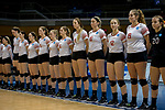 GRAND RAPIDS, MI - NOVEMBER 18: Wittenberg University players stand at attention during the Division III Women's Volleyball Championship held at Van Noord Arena on November 18, 2017 in Grand Rapids, Michigan. Claremont-M-S defeated Wittenberg 3-0 to win the National Championship. (Photo by Doug Stroud/NCAA Photos via Getty Images)