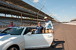 USA, Indiana, Indianapolis Motor Speedway, fan rides in pace car during off season scene of the annual Indy 500 car race.