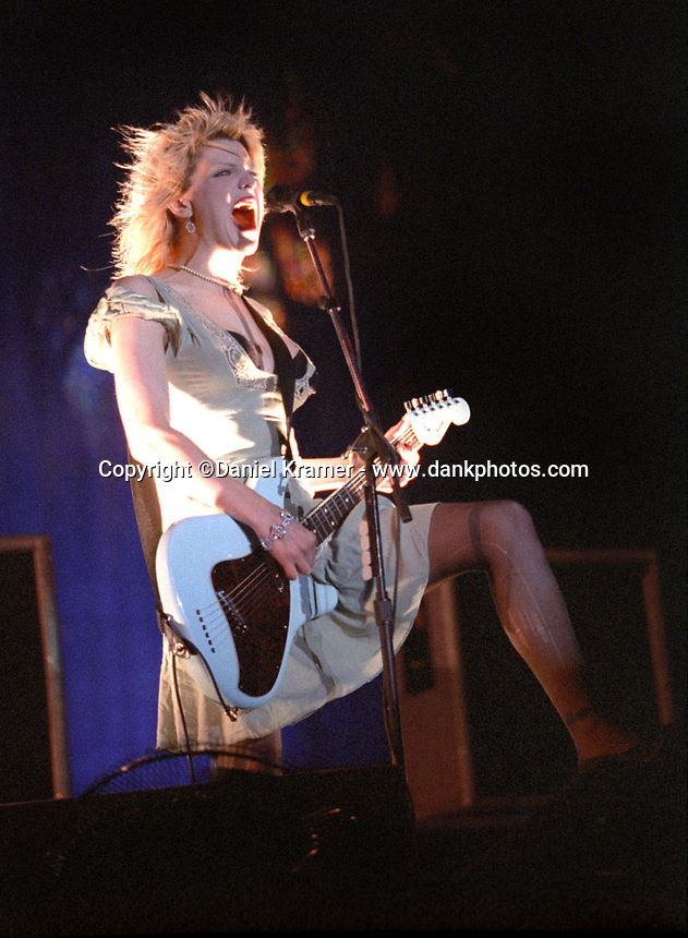 Courtney Love and her band, Hole, headlined the Lollapalooza concert in New York, 1995