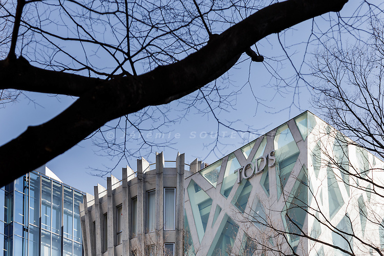 Tokyo, March 26 2015 - Tods and Hugo Boss buildings in Omotesando.