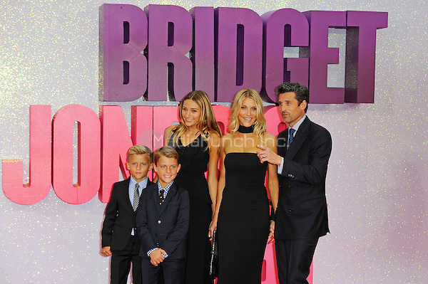 LONDON, ENGLAND - SEPTEMBER 5: Darby Galen Dempsey, Sullivan Patrick Dempsey, Tallula Fyfe Dempsey, Jillian Dempsey and Patrick Dempsey attending the World Premiere of 'Bridget Jones's Baby' at Odeon Cinema, Leicester Square on September 5, 2016 in London, England.<br /> CAP/MAR<br /> &copy;MAR/Capital Pictures /MediaPunch ***NORTH AND SOUTH AMERICAS ONLY***